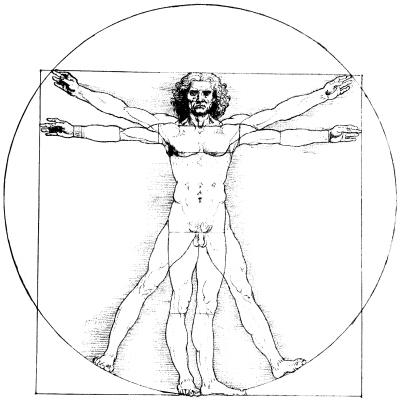 På Leonardo da Vincis berömda skiss från ca 1492, Den vitruvianske mannen, sträcker sig människan åt fyra håll.